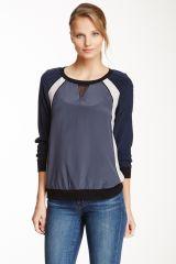 Rebecca Taylor Silk Colorblock Sweatshirt at Nordstrom Rack