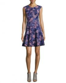 Rebecca Taylor Sleeveless Abstract-Print Fit-and-Flare Dress Deep Purple at Neiman Marcus