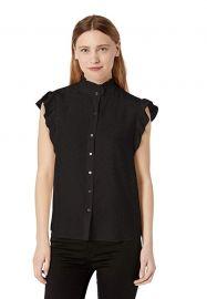Rebecca Taylor Sleeveless Ruffle Sleeve Silk Top at Amazon