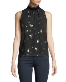 Rebecca Taylor Sleeveless Scattered Tulip High-Neck Top at Neiman Marcus