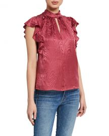 Rebecca Taylor Sleeveless Swirl Jacquard Ruffle Top at Neiman Marcus