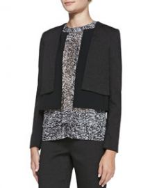 Rebecca Taylor SmoothTextured Layered Jacket and Sleeveless Double-Layer White Noise-Print Top at Neiman Marcus
