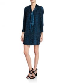 Rebecca Taylor Snake-Print Tie-Neck Long-Sleeve Silk Dress at Neiman Marcus