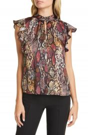 Rebecca Taylor Snake Ruffle Silk Top   Nordstrom at Nordstrom