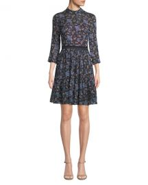 Rebecca Taylor Solstice Floral High-Neck Short Dress at Neiman Marcus