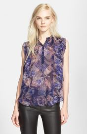 Rebecca Taylor Sonic Garden Sleeveless Silk Top in Deep Purple Combo at Nordstrom