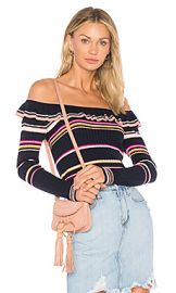 Rebecca Taylor Striped Ruffle Top in Navy  amp  Cream from Revolve com at Revolve