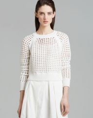 Rebecca Taylor Sweater - Open Lattice Crop at Bloomingdales