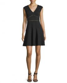 Rebecca Taylor Taylor Waffle-Knit Circle Dress Black at Neiman Marcus