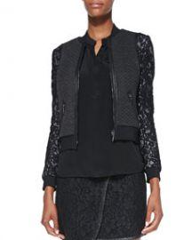 Rebecca Taylor TexturedLace Bomber Jacket at Neiman Marcus