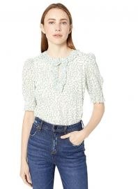 Rebecca Taylor Three Quarter Sleeve Floral Top at Amazon