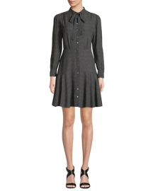 Rebecca Taylor Tie-Neck Button-Front Long-Sleeve Sprinkle-Dot Silk Dress at Neiman Marcus