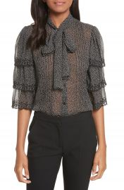 Rebecca Taylor Tie Neck Tiered Sleeve Silk Blouse at Nordstrom