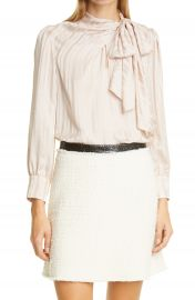 Rebecca Taylor Tonal Stripe Tie Neck Silk Blouse   Nordstrom at Nordstrom