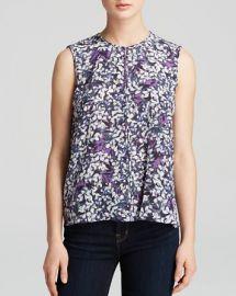 Rebecca Taylor Top - Sleeveless Blossom Print Silk at Bloomingdales