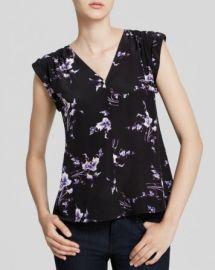 Rebecca Taylor Top - Sleeveless V-Neck Grapevine Print Silk at Bloomingdales
