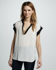 Rebecca Taylor Two-Tone Scoop-Neck Silk Tee at Neiman Marcus