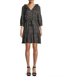 Rebecca Taylor Vine-Print Long-Sleeve Silk Shirtdress at Neiman Marcus