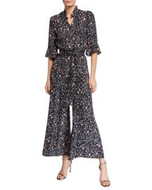 Rebecca Taylor Vivianna Long-Sleeve Floral-Print Silk Jumpsuit at Neiman Marcus