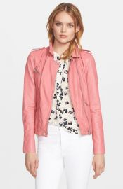 Rebecca Taylor Washed Leather Moto Jacket in Guava at Nordstrom