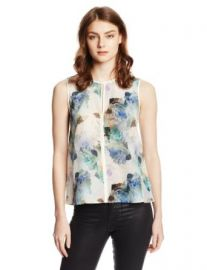Rebecca Taylor Womenand39s Sleeve Enchanted Gardens Silk Top Aqua Combo 0 at Amazon