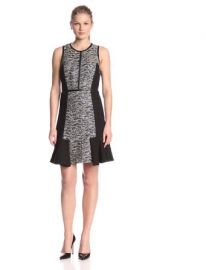 Rebecca Taylor Womenand39s Tweed Combo Flounce Dress at Amazon