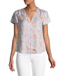 Rebecca TaylorEmilia Floral Silk Hook-Front Top at Neiman Marcus