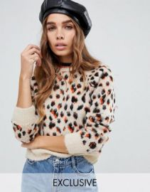 Reclaimed Vintage inspired leopard print Sweater   ASOS at Asos