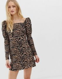 Reclaimed Vintage inspired mini dress with shoulder puff in tiger Print   ASOS at Asos
