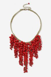 Red Berry Collar Necklace at Topshop