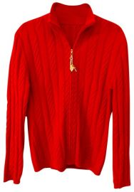 Red Cable Knit Cashmere Charm Zipper Cardigan at Tradesy