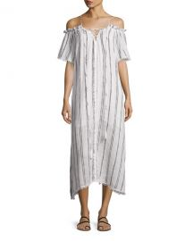 Red Carter Isla Off-the-Shoulder Striped Coverup Maxi Dress at Neiman Marcus