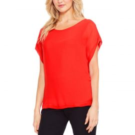 Red Chiffon Sheer Top by Vince Camuto at Macys