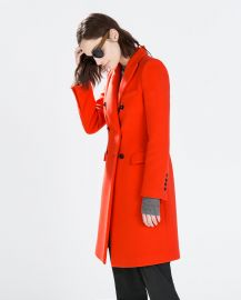 Red Double Breasted Coat at Zara