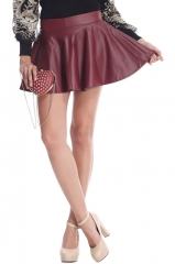 Red Fake Leather Skirt at Romwe