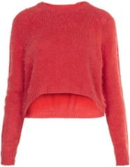Red Fluffy Sweater at Topshop