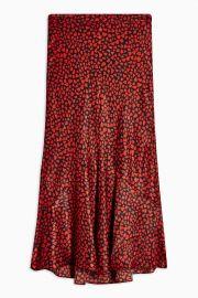 Red Heart Satin Flounce Midi Skirt at Topshop