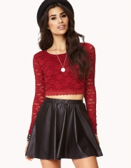 Red Lace Crop Top at Forever 21