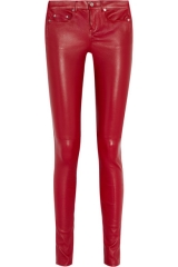 Red Leather Pants by Saint Laurent at Net A Porter