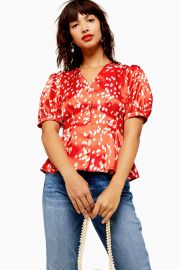 Red Pleated Dalmation Print Blouse at Topshop