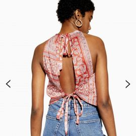 Red Scarf Print Paisley Top by Topshop at Topshop
