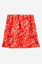 Red Spot Satin Bias Mini Skirt at Topshop