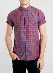 Red Tartan Short Sleeve Smart Shirt at Topman