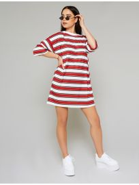 Red and White Stripe Oversized T-Shirt Dress at Public Desire