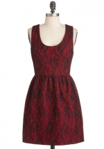 Red and black dress at Modcloth
