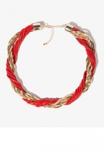 Red and gold chunky necklace at Forever 21