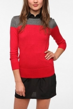 Red and grey colorblock sweater at Urban outfitters at Urban Outfitters