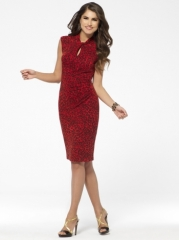 Red animal print keyhole dress at Cache
