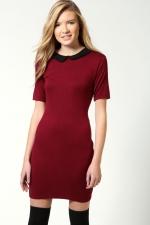 Red collared dress at Boohoo at Boohoo