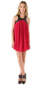 Red dress with black leather trim at Shopbop